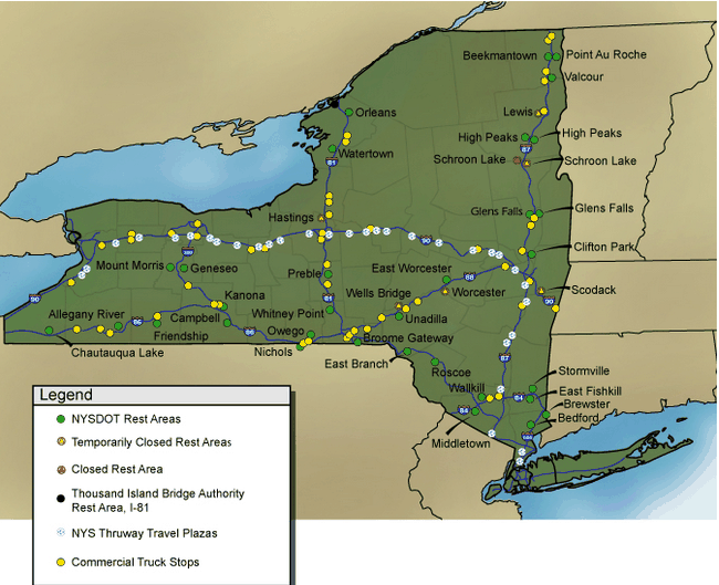 new york rest area map